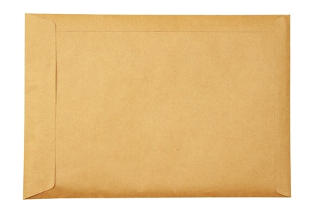Old beige envelope on white background photo