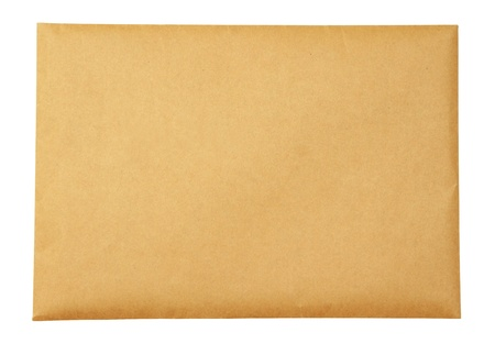 Old beige envelope on white background