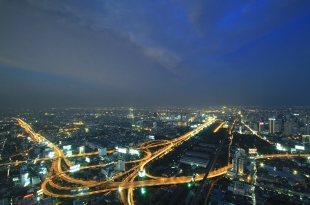The highest aerial view of Bangkok, Thailand at twilight time