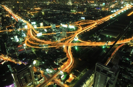 The highest aerial view of Bangkok, Thailand at night time