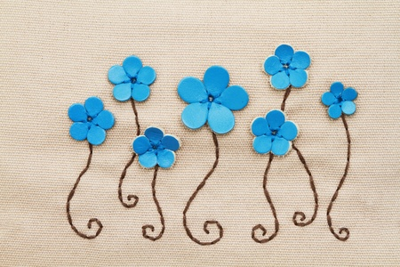 Embroidery pattern on fabric  photo