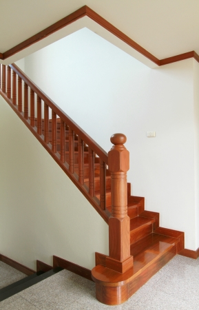 stair: Interior - Wooden stairs and handrail