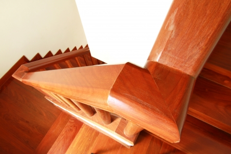 Interior - Wooden stairs and handrail photo