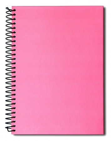 Pink notebook isolated on white background  photo