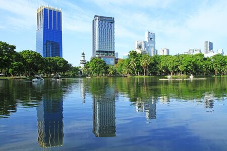 Landscape of Bangkok from Lumpini Park, Bangkok, Thailand  photo