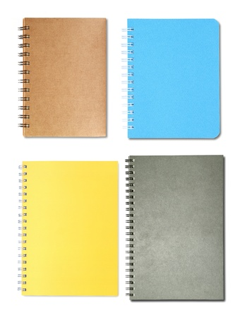 Set of notebooks isolated on white background photo