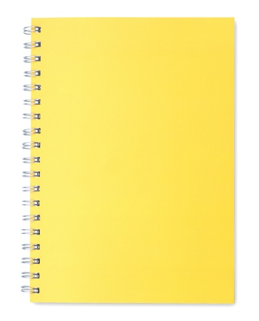 Yellow notebook isolated on white background  Stock Photo