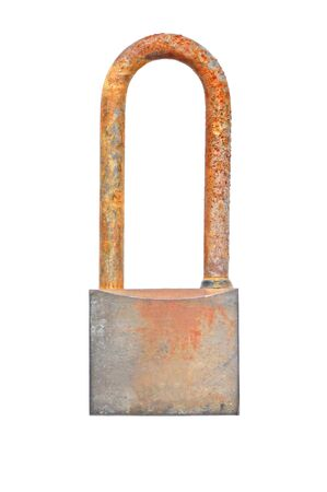 Rusty padlock isolated on white background photo