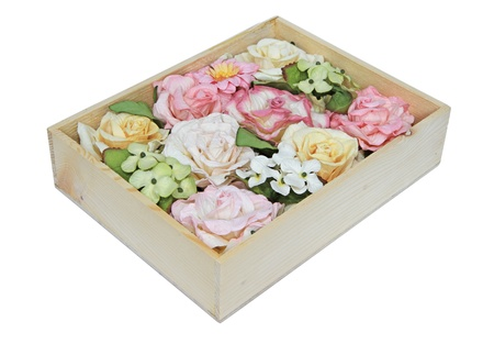 Sweet color flowers from mulberry paper in white wooden box  photo