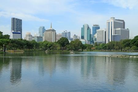 lumpini: Bangkok city landscape from Lumpini Park, Thailand