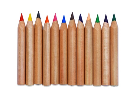 Set of color pencil isolated on white background  photo