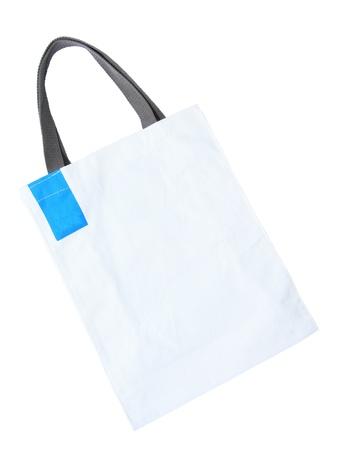 White cotton bag isolated on white background
