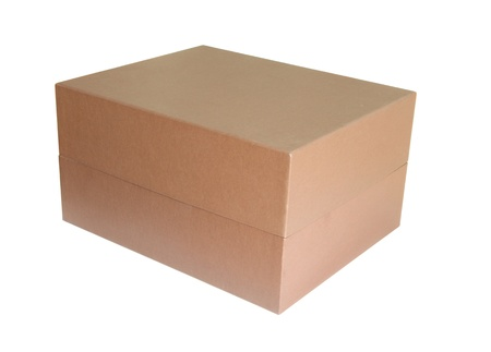 Brown cardboard box isolated on white background photo