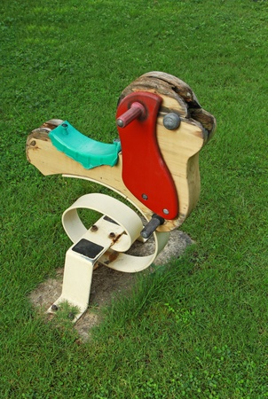 Aged swing toy in green grass field photo