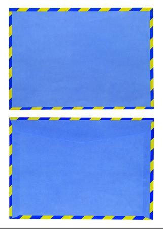 Blue envelope isolated on white background  photo