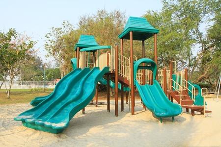 kids playground: Green children playground in the park
