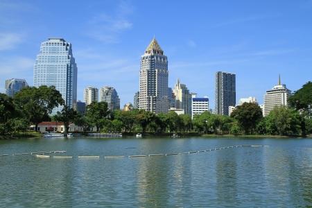 lumpini: Bangkok city landscape from Lumpini Park, Thailand Stock Photo