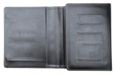 Black leather cover notebook isolated on white background  photo