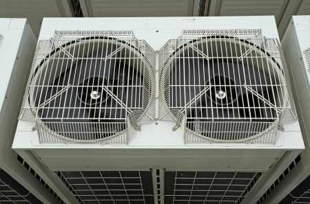 outside machines: Ventilation fan of air conditioner  Stock Photo
