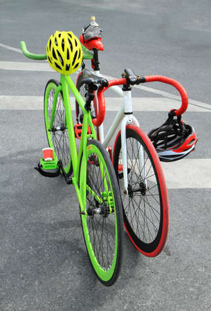 Colorful bicycle parked together  photo