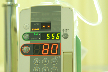 Close up image of medical infusion drip tool photo