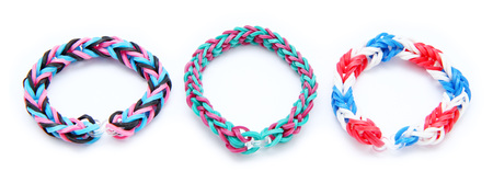 rubber bands: Colorful loom bracelet rubber bands isolated on white background Stock Photo
