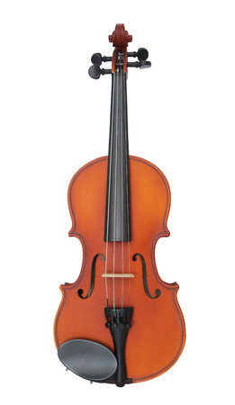 Light brown violin isolated on white background photo
