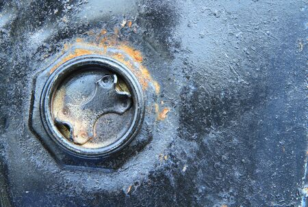 contaminate: Rusty tube metal drums Stock Photo