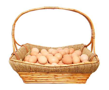 Eggs in basket isolated on white background photo