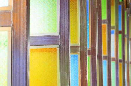 vetrate colorate: Riga delle vetrate Archivio Fotografico