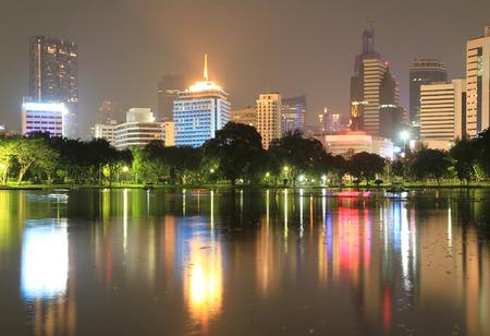 Night view of Lumpini Park, Bangkok, Thailand. photo