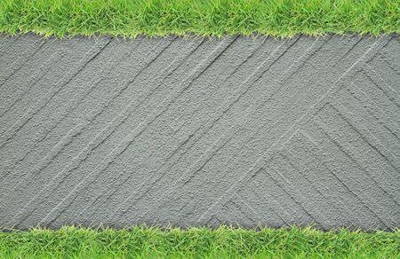grass border: Green grass border on rough cement wall background