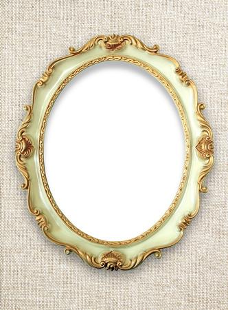 antique frames: Vintage golden frame on fabric background