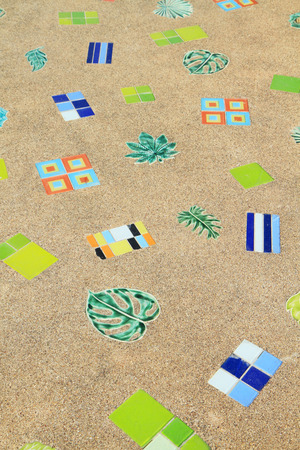 tiled floor: Colorful tiled floor