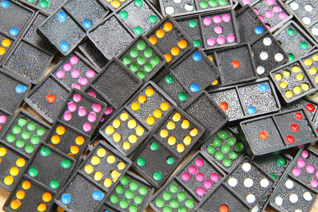 regimented: Pile of colorful dominoes