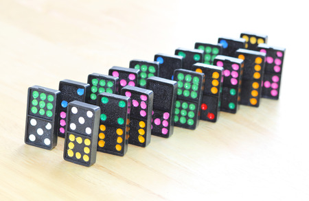 regimented: Row of colorful dominoes