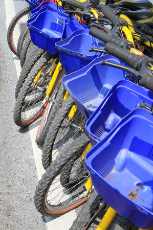 secure brake: Row of bicycles Stock Photo