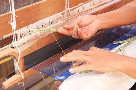 loom: Thai traditional hand-weaving loom with hand
