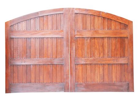 back gate: Large wooden gate isolated on white background