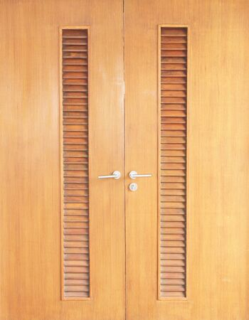 door handle: Wooden door with handle Stock Photo