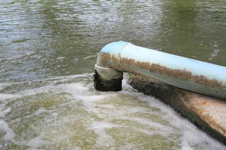 waste water: Waste water flow from water pipe