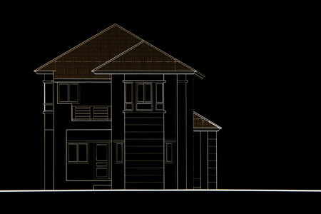 front of: House plan - front view.