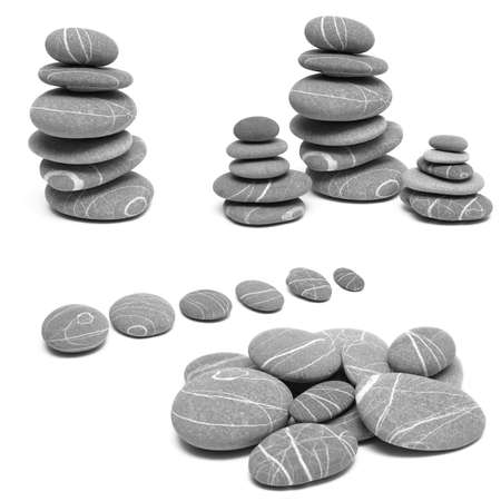 Balance stones on a white background, collage photo