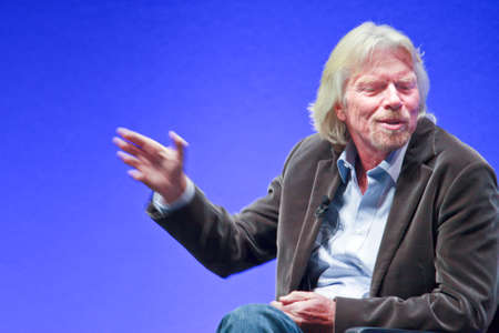FRANKFURT, GERMANY - MAY 17: Richard Branson, Founder and President of Virgin Group, answering to SAP moderator in his keynote at SAPPHIRE conference of SAP company MAY 17, 2010 Editorial