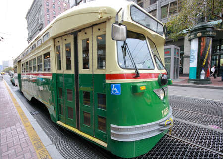 SAN FRANCISCO, CA, OCT 4, 2011 - Vintage PCC streetcar in service on the F Market heritage line help in transportation of 45000 Oracle OpenWorld 2011 attendees Oct 4, 2011 in San Francisco, CA