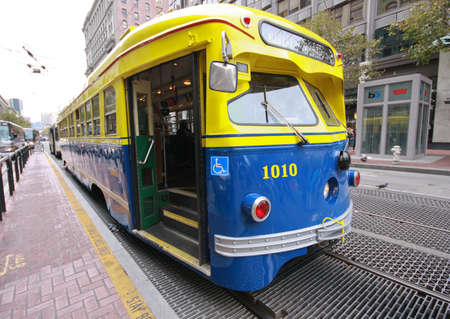 SAN FRANCISCO, CA, OCT 4, 2011 - Vintage PCC streetcar in service on the F Market heritage line help in transportation of 45000 Oracle OpenWorld 2011 attendees Oct 4, 2011 in San Francisco, CA. Type of PCC (Presidents' Conference Committee) tram - Torpe