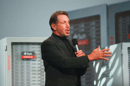 SAN FRANCISCO, CA, OCT 2, 2011 - CEO of Oracle Larry Ellison makes his first speech at Oracle OpenWorld conference in Moscone center on Oct 2, 2011. He is the third in the Forbes list of richest US persons