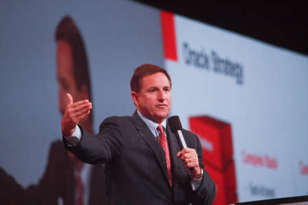 oracle: SAN FRANCISCO, CA, OCT 3, 2011 - Oracle president Mark Hurd makes speech at Oracle OpenWorld conference in Moscone center on Oct 3, 2011  Editorial
