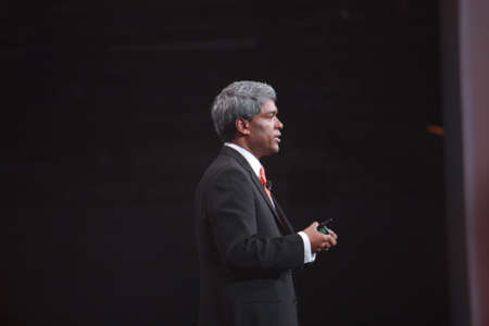 oracle: SAN FRANCISCO, CA, OCT 3, 2011 - Oracle Executive Vice President Thomas Kurian makes speech at OpenWorld conference in Moscone center on Oct 3, 2011 Editorial