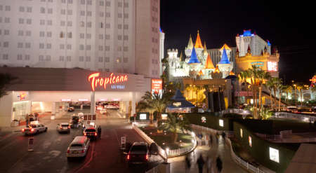 LAS VEGAS, NV -  APRIL 10: Tropicana and Excalibur Hotel and Casino on April 10, 2011 in Las Vegas, Nevada. Its owner - MGM Resorts reported strong net revenue gain of 43% to $2.23 billion in third quarter 2011